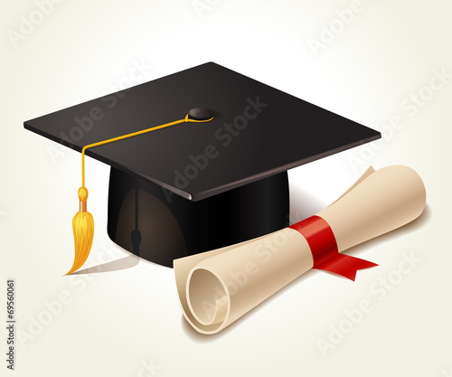 Graduation cap and diploma - 69560061