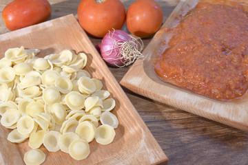 orecchiette at the tomato puree