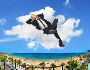 Businessman holidays beach concept