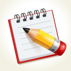 Pencil and notepad icon