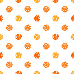 Warm polka dot vector seamless pattern - in orange colors