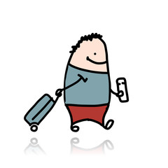 Man with suitcase and ticket, cartoon