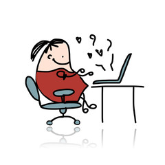Girl chatting on computer, cartoon for your design