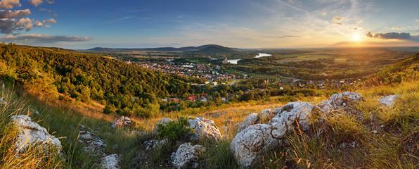 Bratilava panorama with village Devin at sunset