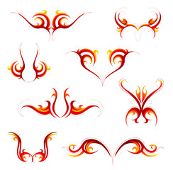 Tribal flame tattoo set