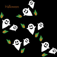 Seamless pattern of Halloween ghosts