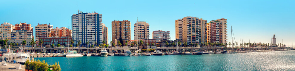 Panoramic view of Benalmadena harbor
