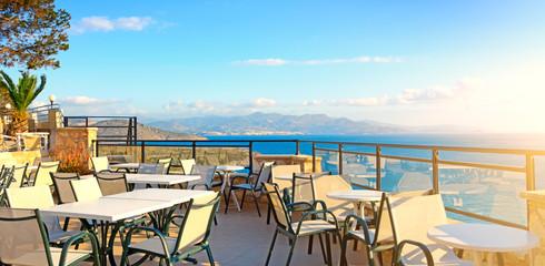 Cafes. Seascape. Greece