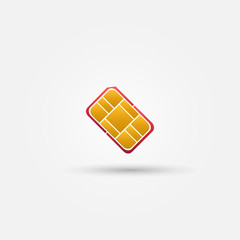 Nano SIM vector red icon  - card for mobile phones symbol