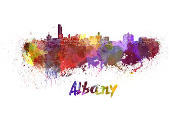 Albany skyline in watercolor