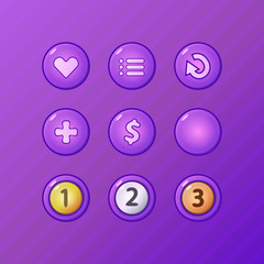 Set of game UI vector elements for gamedev