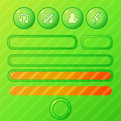 Bright green game UI elements - vector buttons and bars
