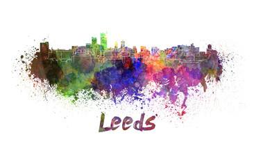 Leeds skyline in watercolor