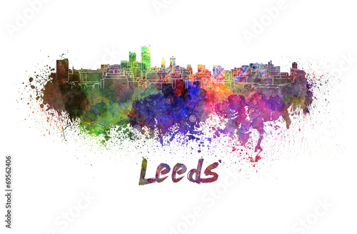 Leeds skyline in watercolor
