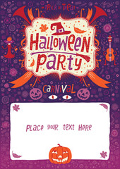 Halloween party invitation card, poster or background