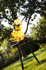 Grill flame, hot burning