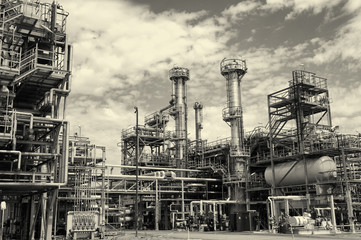 large oil and gas refinery, pipelines and towers