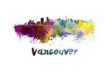 Vancouver skyline in watercolor