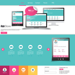 Flat Colorful Website Template Design