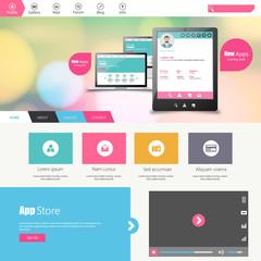 Flat vector website template with computer screen, smartphone,