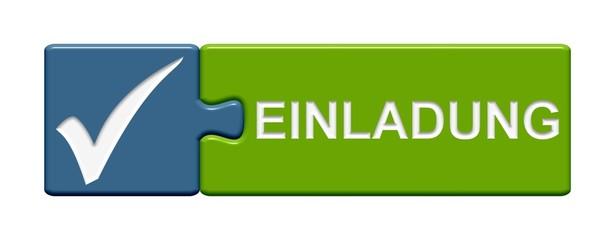 Puzzle-Button blau grün: Einladung
