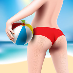 woman with beach ball