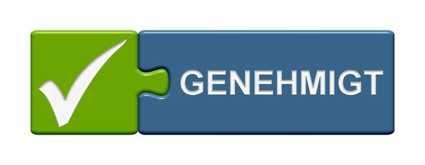 Puzzle-Button grün blau: Genehmigt