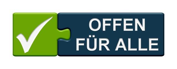 Puzzle-Button grün blau: Offen für alle