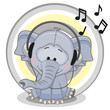 Elephant with headphones