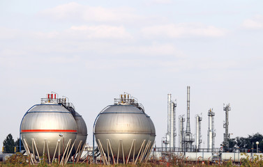 petrochemical plant with oil tanks