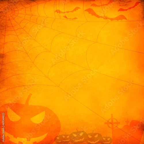 Grunge orange halloween background