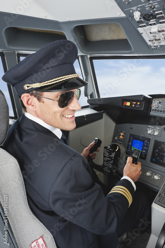 canvas print picture Pilotierung Flugzeug von Flugzeug-Cockpit