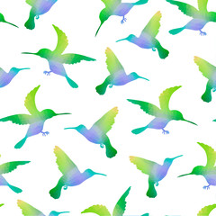 Seamless Nature Background with Hummingbirds