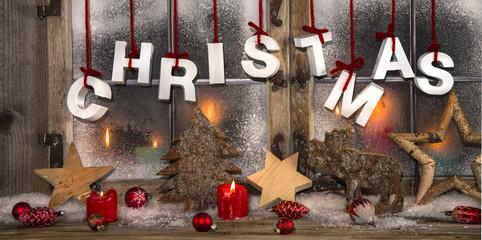 Weihnachtskarte mit Text Christmas - klassisch in rot weiß