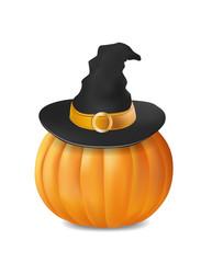 Pumpkin in witch hat icon