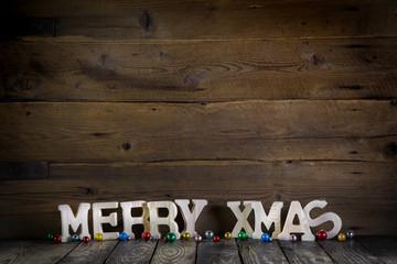 Weihnachtskarte mit Schriftzug: Merry Xmas