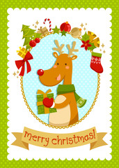 Christmas card with cartoon deer and a set of related items
