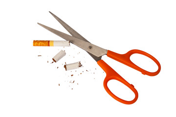 scissors cutting cigarette