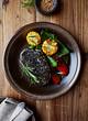 Chicken Fillet with Black Sesame Crust and Vegetables