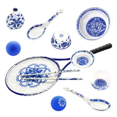 Blue and white racket and plate