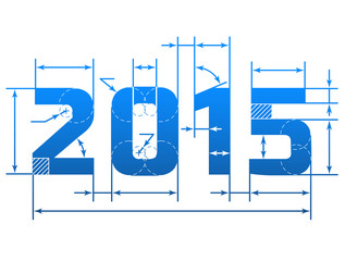 New Year 2015 number with dimension lines. Blueprint element