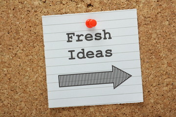 Fresh Ideas This Way on a cork notice board