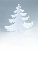 Christmas white handmade paper  tree with white copy space