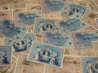alte antike deutsche banknoten, geldscheine