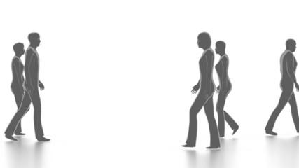 Walking people in crowd