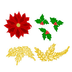 Christmas decoration poinsettia holly and gold leaves vector