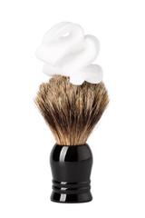 Shaving brush with foam isolated on white