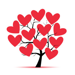 Love tree with hearts for your design