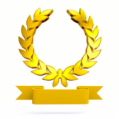 3D golden laurel wreath with banner
