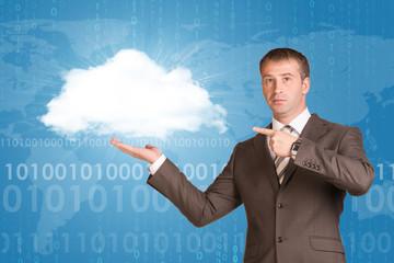 Businessman holding white cloud